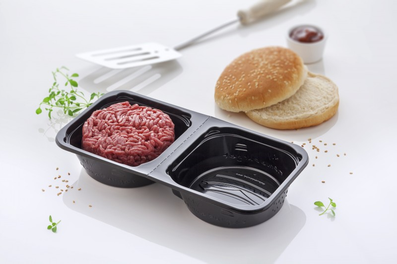 Emballage thermoformé : MY HOMEBURGER : A STANDARD SEALABLE TRAY FOR ROUND STEAKS
